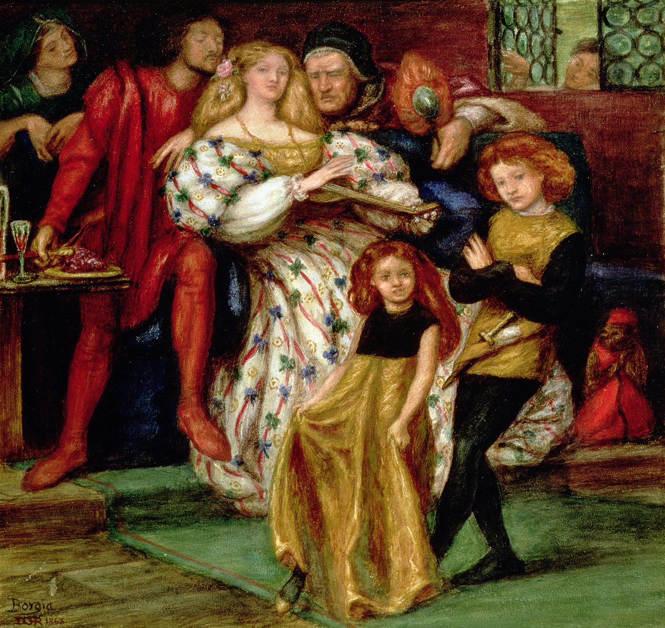 Borgia Family, by Dante Gabriel Rossetti, 1863. Tullie House Museum and Art Gallery, Carlisle, United Kingdom.
