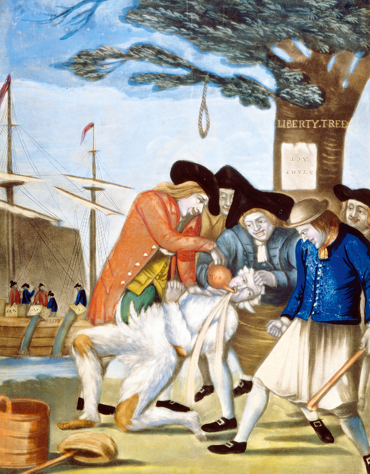 The Bostonians Paying the Excise-Man or Tarring and Feathering, by Philip Dawe, 1774. United States Library of Congress's Prints and Photographs division, Washington D.C.