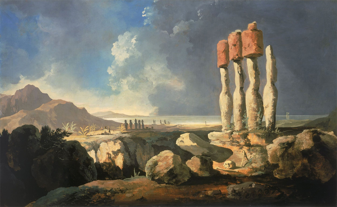 A View of the Monuments of Easter Island, by William Hodges, 1775. National Maritime Museum, Greenwich, London, England.
