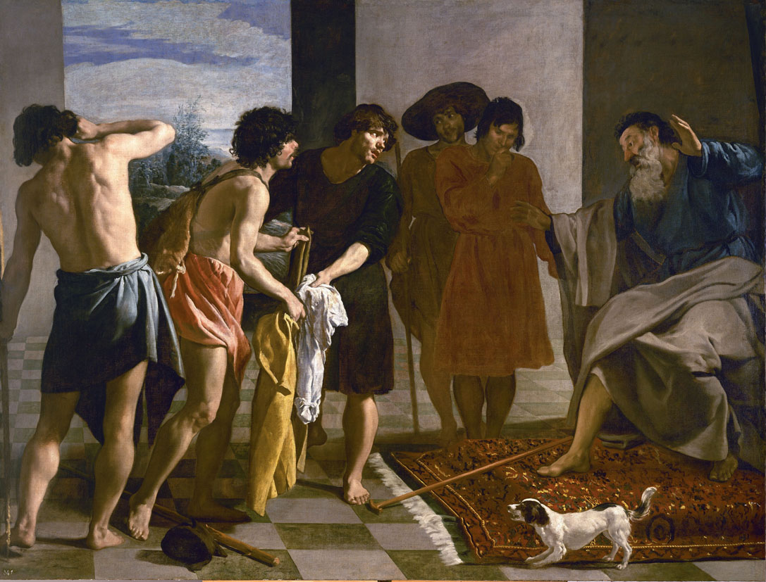 Joseph's Bloody Coat Brought to Jacob, by Diego Velázquez, 1630. Monasterio de San Lorenzo de El Escorial, Spain.