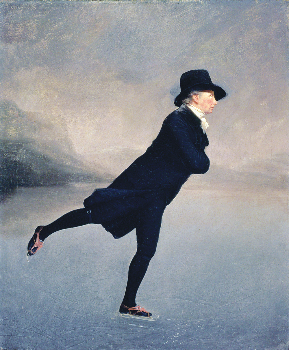 Rev. Robert Walker Skating on Duddingston Loch, by Sir Henry Raeburn, c. 1781. Scottish National Gallery, Edinburgh, Scotland.