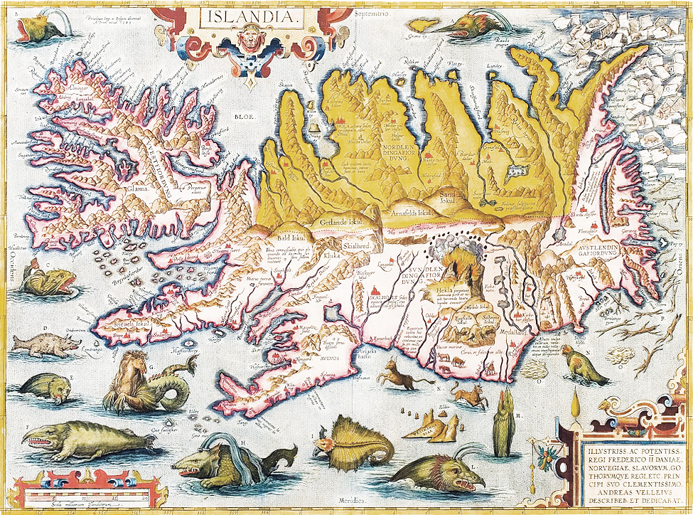 Map of Iceland, by Abraham Ortelius, 1585.
