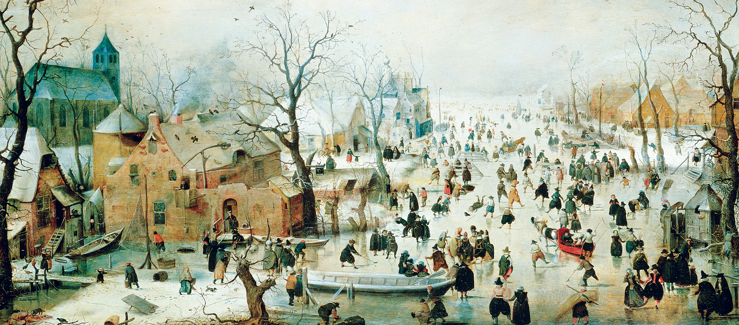 Winter Landscape with Ice Skaters, by Hendrick Avercamp, c. 1608. Rijksmuseum, Amsterdam, Netherlands.