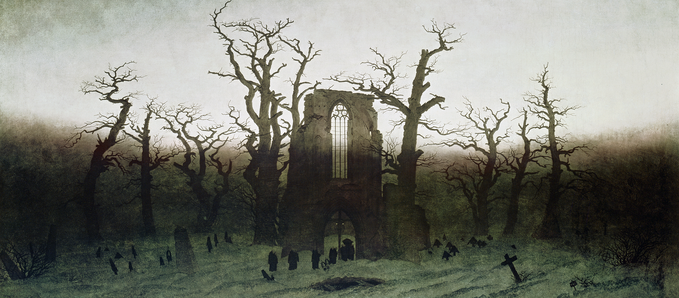 Painting of a ruined abbey in an oak forest.