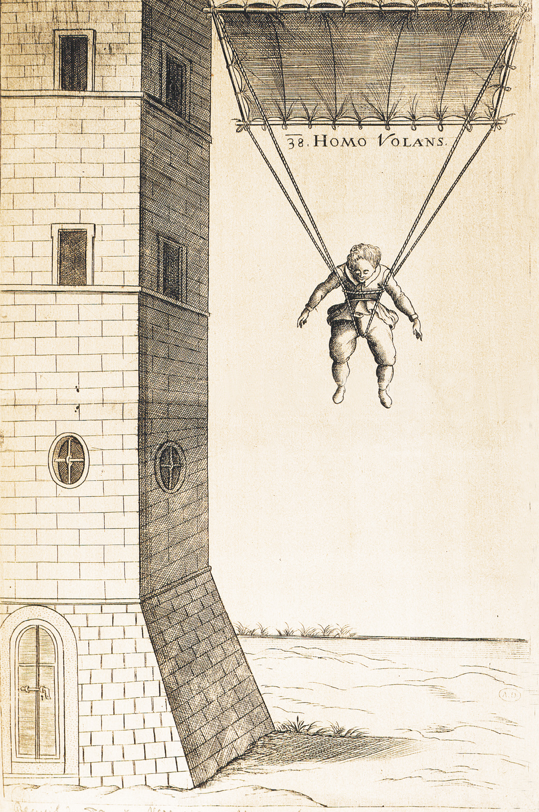 Engraving of Croatian mathematician Faust Vrančić jumping from a tower with a parachute, Italy, 1617.