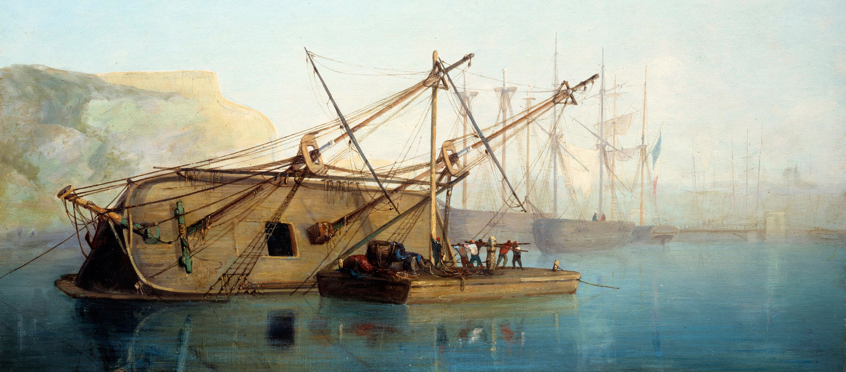 Ship on its side for repairs, by Auguste Aiguier, 1846.