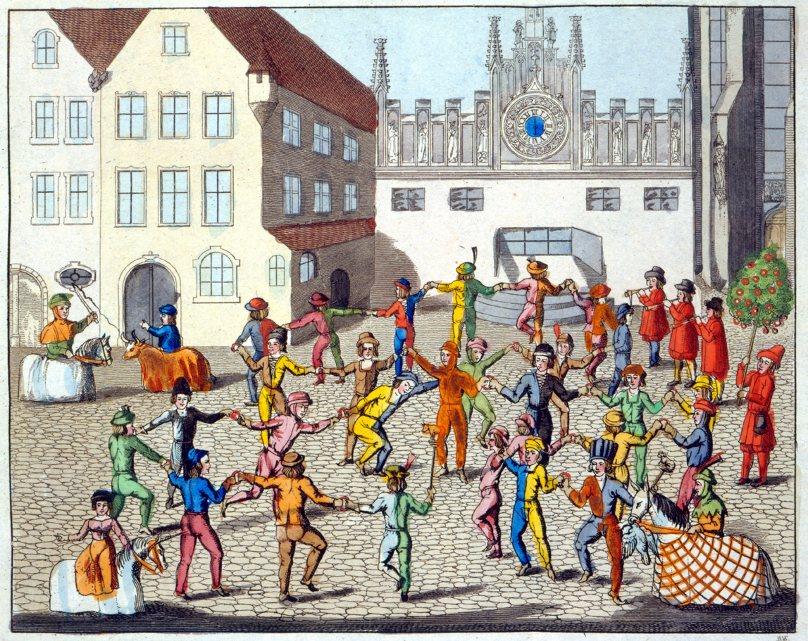 Festivities in the city square, illustration from Old Nuremberg's Customs and Practices in Games and Songs, 1831. © The Stapleton Collection/The Bridgeman Art Library International.