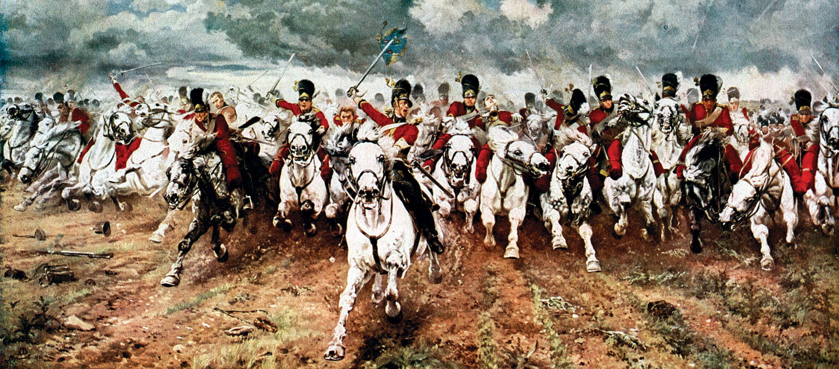 Scotland For Ever'; The Charge of the Scots Greys at Waterloo, June 18, 1815, by Elizabeth Butler, 1881. Leeds Art Gallery, Leeds, West Yorkshire, England.
