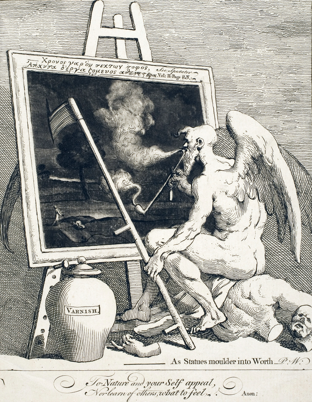 Engraving of Father Time smoking in front of a painting.