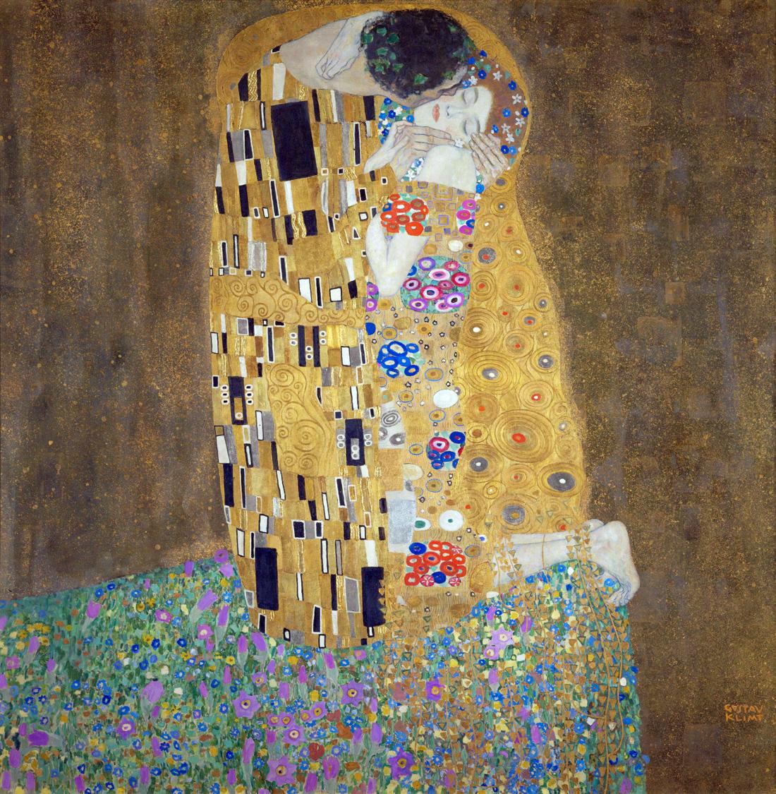 The Kiss, by Gustav Klimt, 1907–1908. Österreichische Galerie Belvedere, Vienna, Austria.