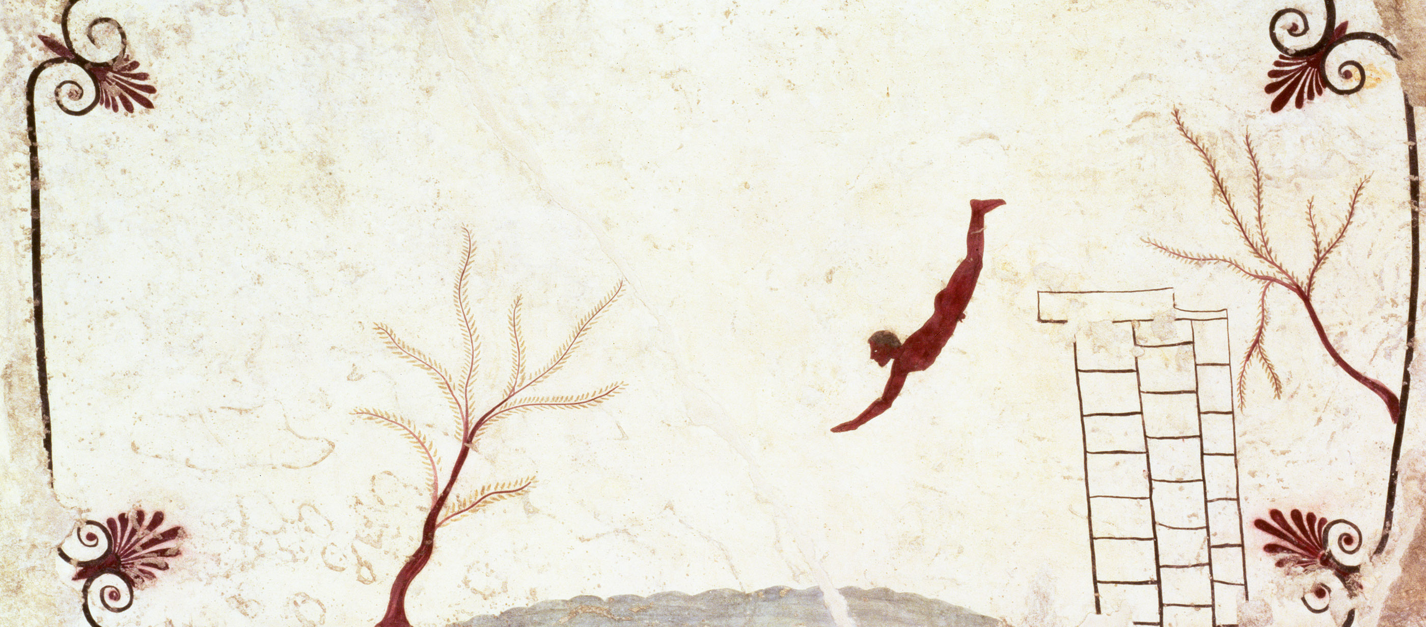 Fresco from the Tomb of the Diver, southern Italy, c. 475 BC. National Archaeological Museum of Paestum, Capaccio, Italy.