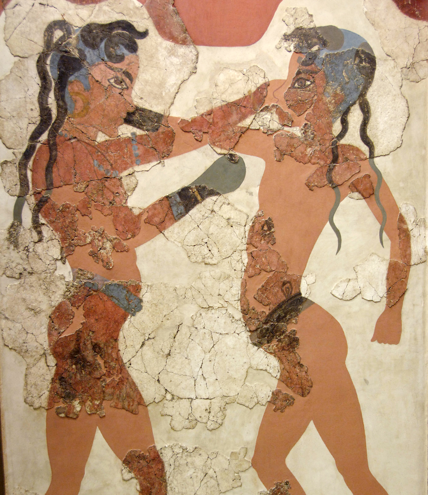 Ancient Greek fresco showing two adolescent boys boxing.