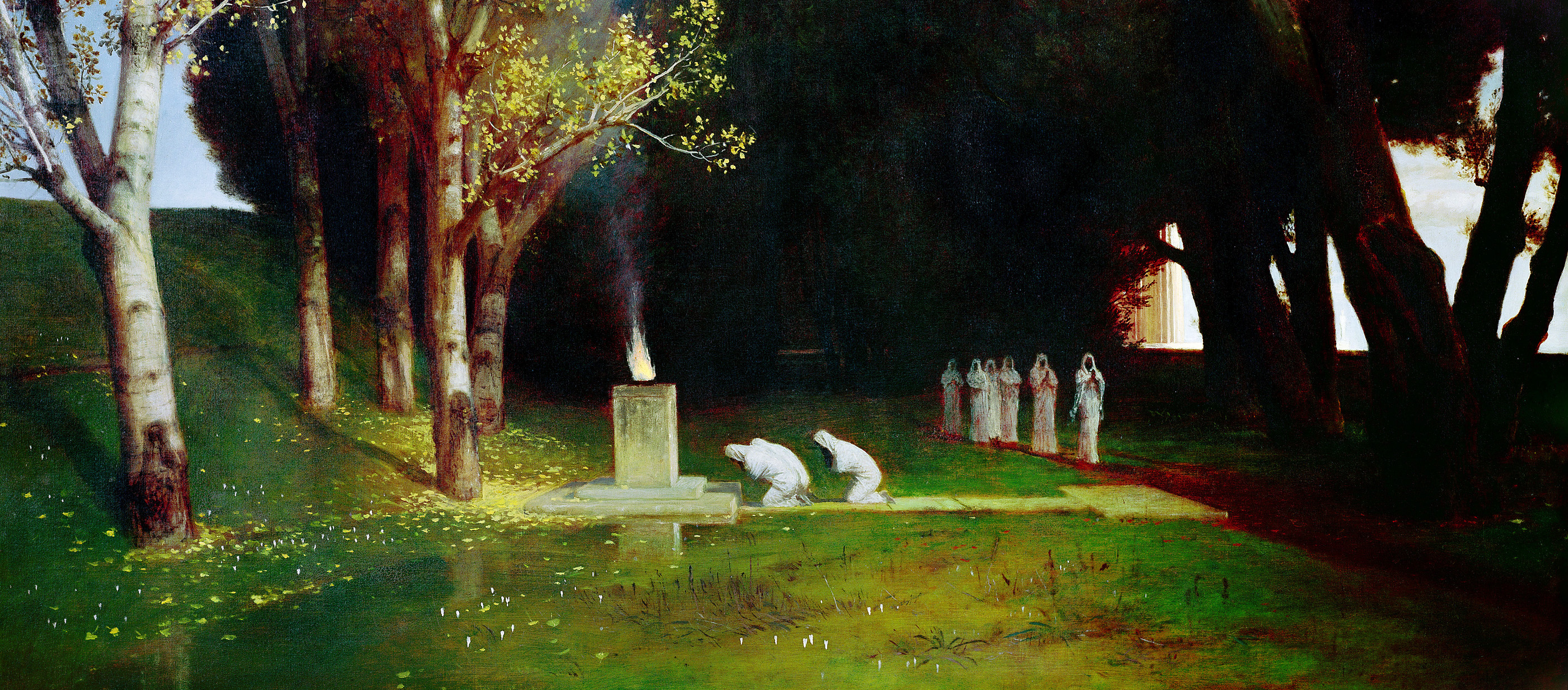 The Sacred Grove, by Arnold Böcklin, 1882. Kunsthalle Hamburg, Germany.