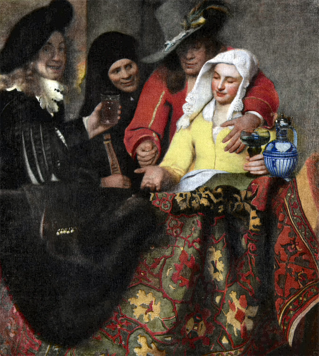 At the Procuress': The Courtesan, by Jan Vermeer, 1656. Gemäldegalerie Alte Meister, Dresden, Germany.