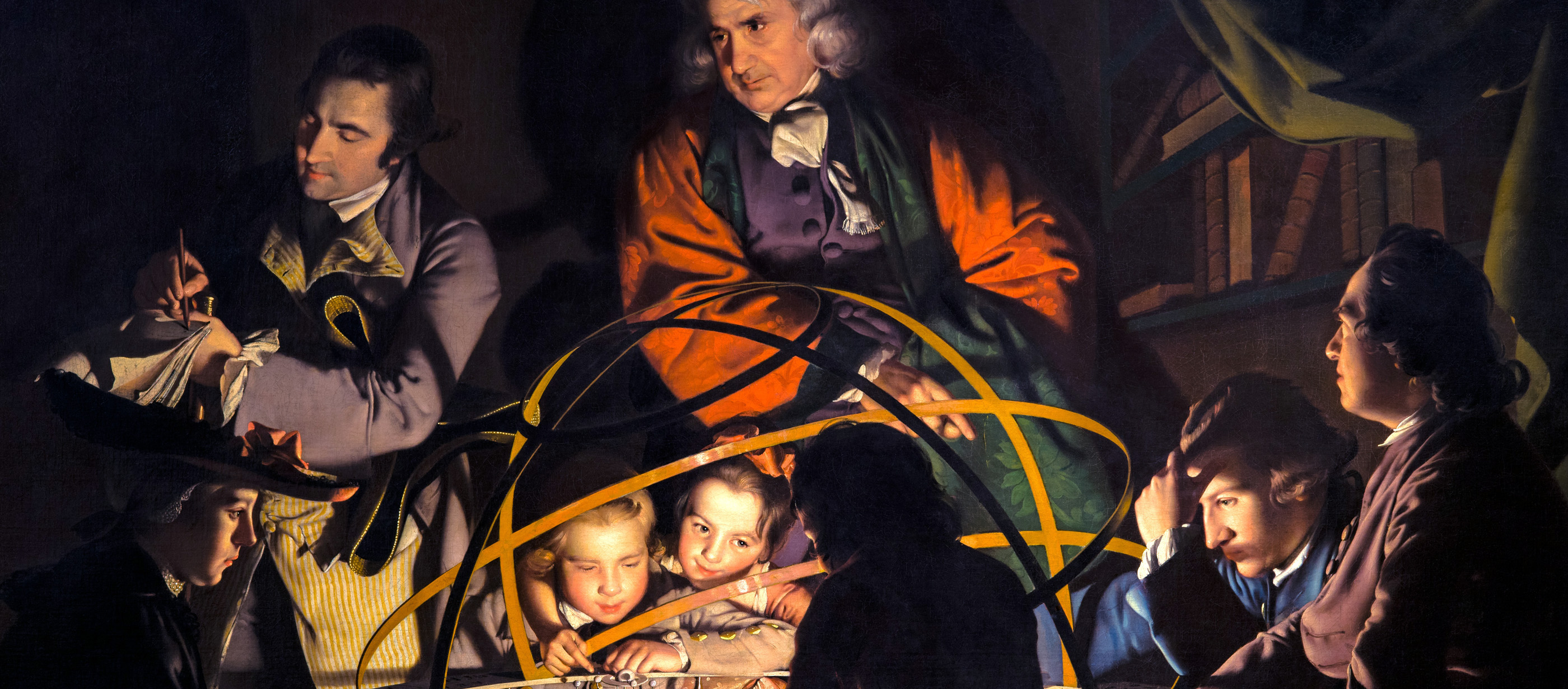 Painting of scientists and children gathered around a model solar system.
