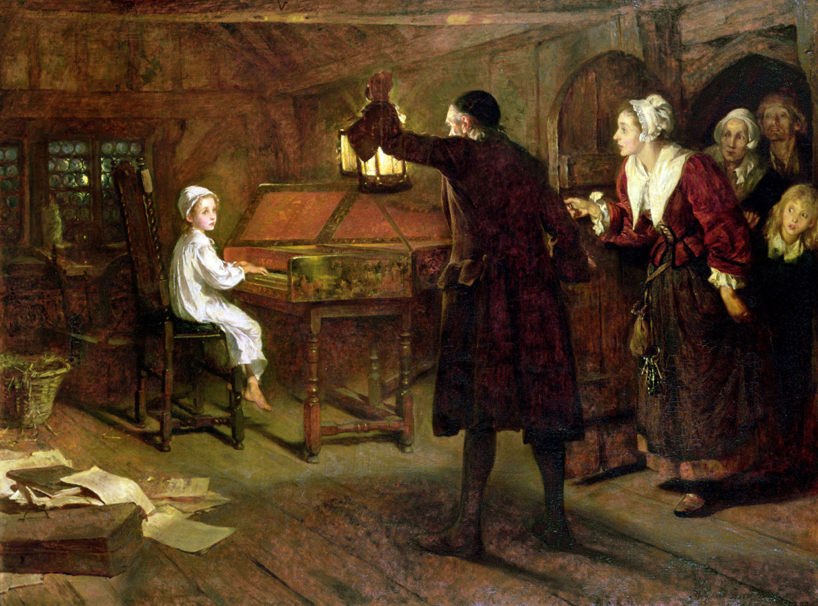 The Child Handel, Discovered by His Parents, by Margaret Isabel Dicksee, 1893. Brighton Museum & Art Gallery, Brighton, United Kingdom.