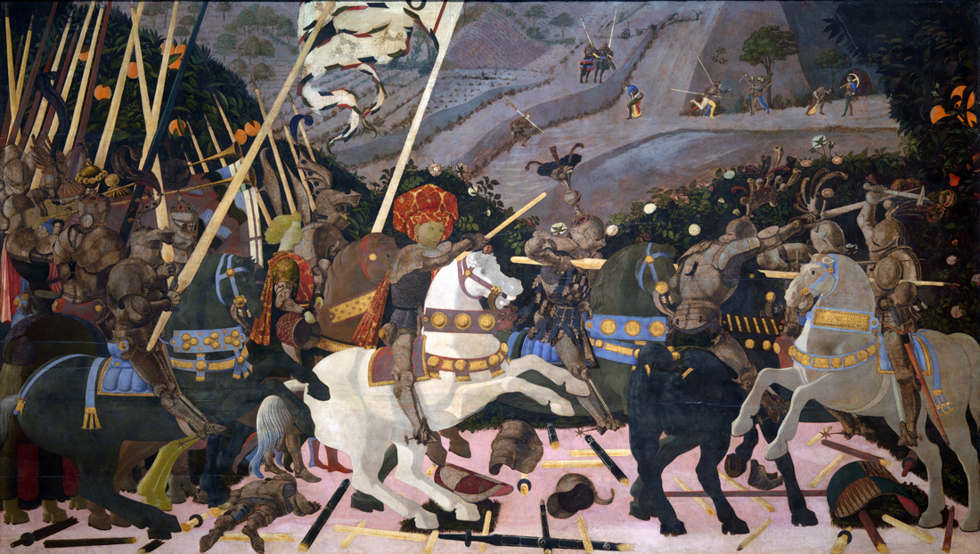 Niccolò Mauruzi da Tolentino at the Battle of San Romano, by Paolo Uccello, c. 1438. National Gallery, London.
