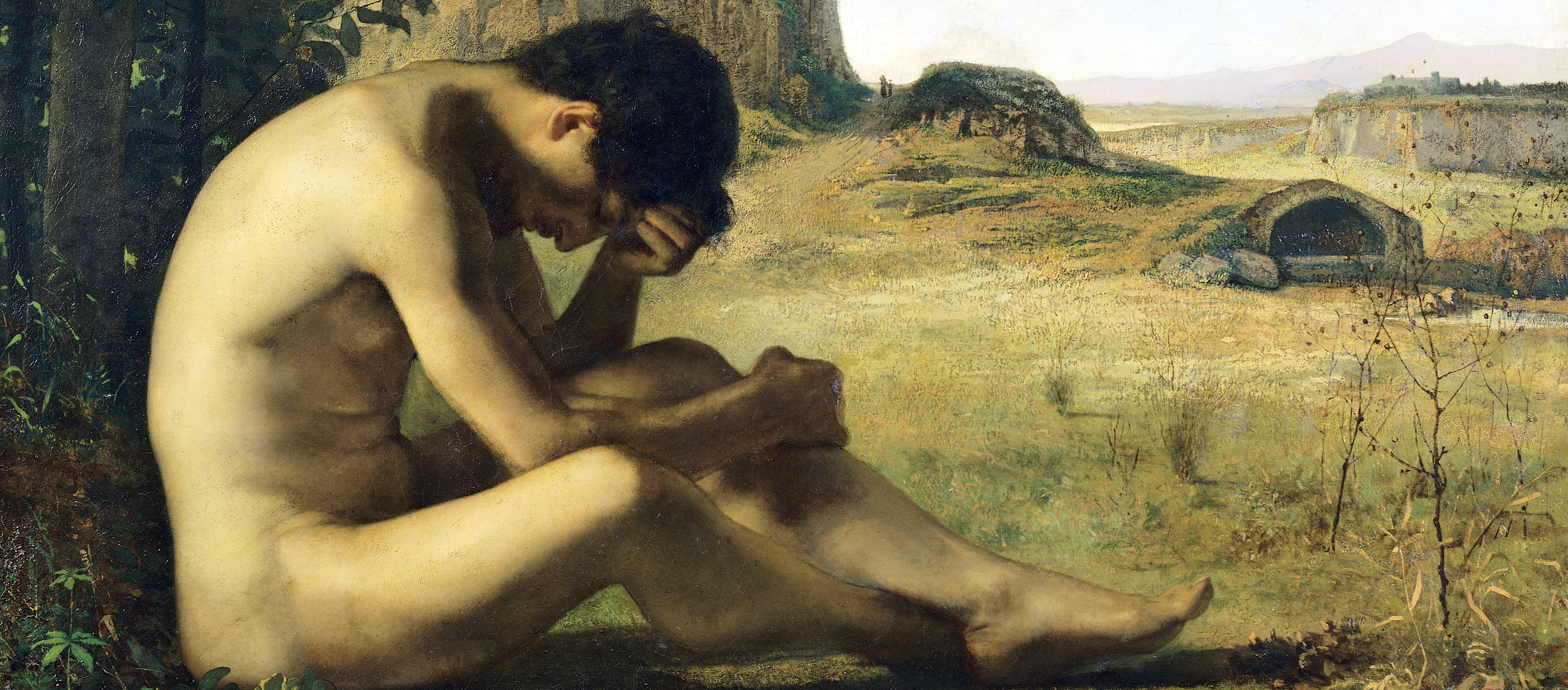 Painting of a reclining nude young man.