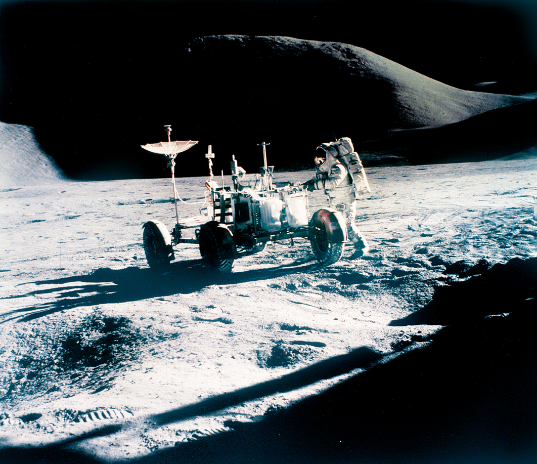 Apollo 15 astronaut James Irwin with a Lunar Roving Vehicle, 1971. Photograph by Dave Scott. Johnson Space Center, United States National Aeronautics and Space Administration, Houston.