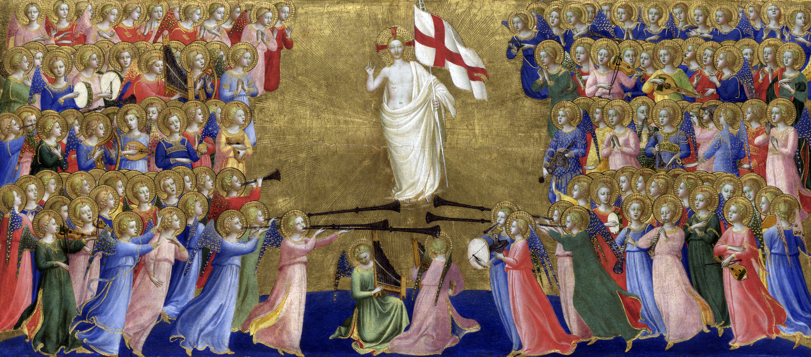 Christ glorified in the court of heaven, Fiesole San Domenico Altarpiece (detail), by Fra Angelico, c. 1424. National Gallery, London.