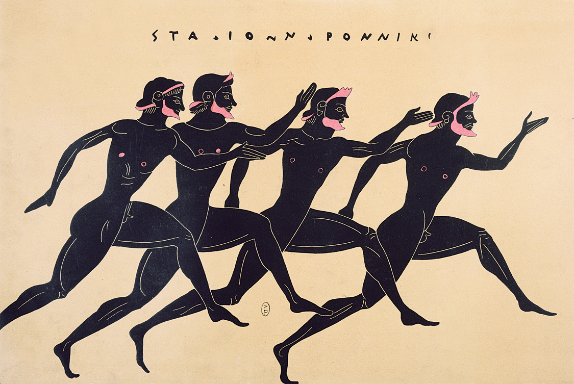 Athletes in a footrace, French lithograph after an ancient Greek vase, c. 1850. © Bibliotheque des Arts Decoratifs, Paris/Archives Charmet/The Bridgeman Art Library International.