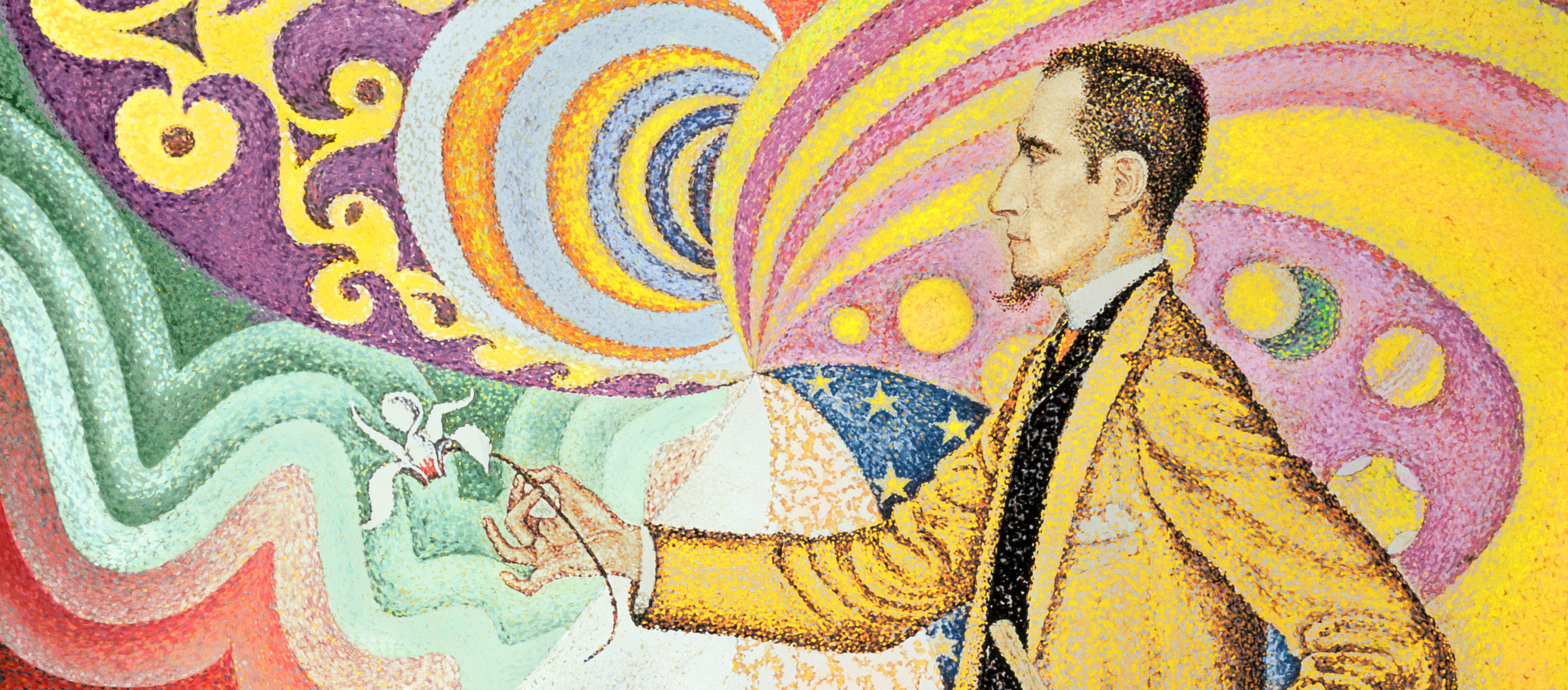Opus 217. Against the Enamel of a Background Rhythmic with Beats and Angles, Tones and Tints, Portrait of Félix Fénéon in 1890, by Paul Signac, 1890. The Museum of Modern Art, New York, New York.