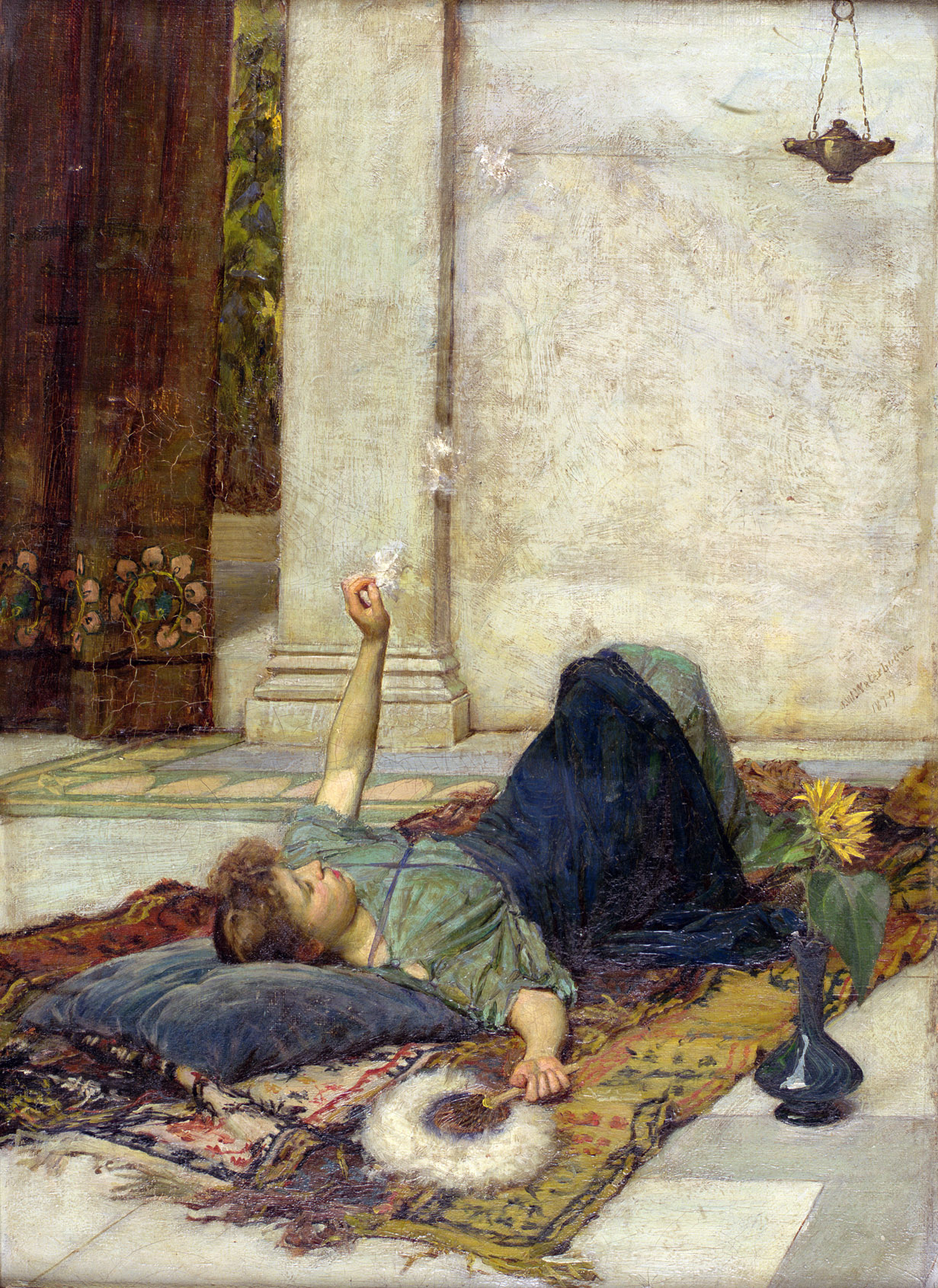The White Feather Fan, by John William Waterhouse, 1879. Private Collection.