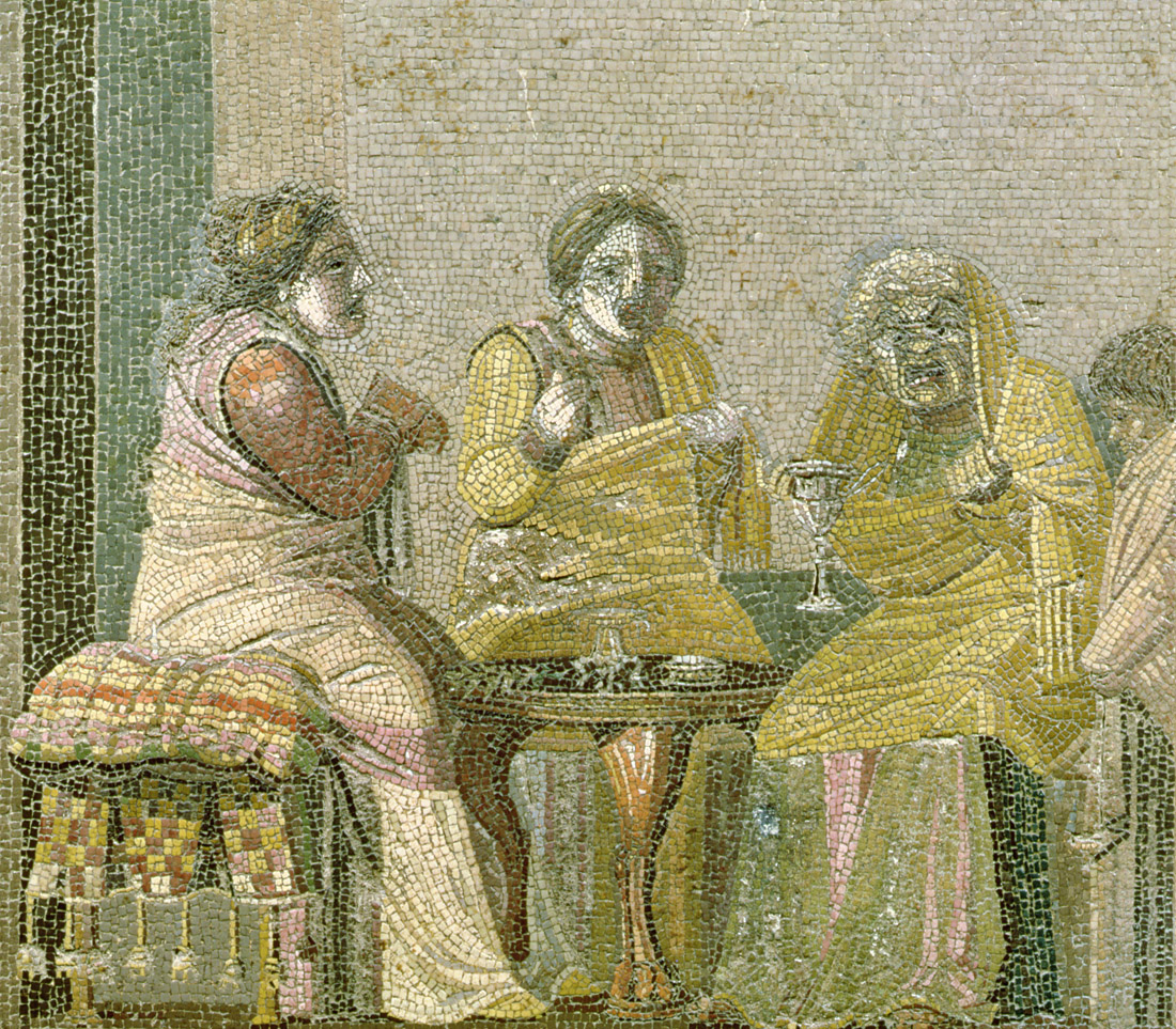 Magical consultation, mosaic from Villa di Cicerone, Pompeii, c.100 BC. Museo Archeologico Nazionale, Naples, Italy.