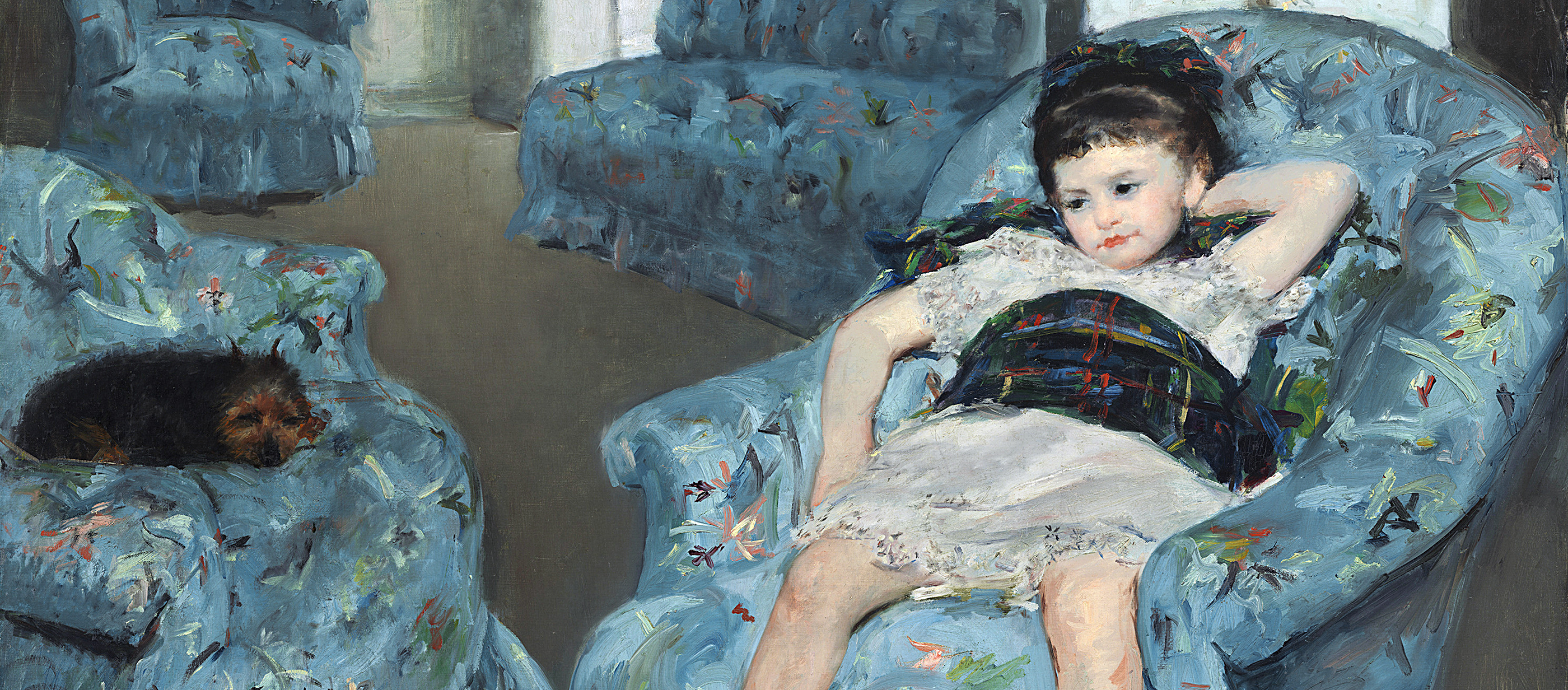 Mary Cassat painting of a little girl wearing a blue dress slumped in a blue armchair.