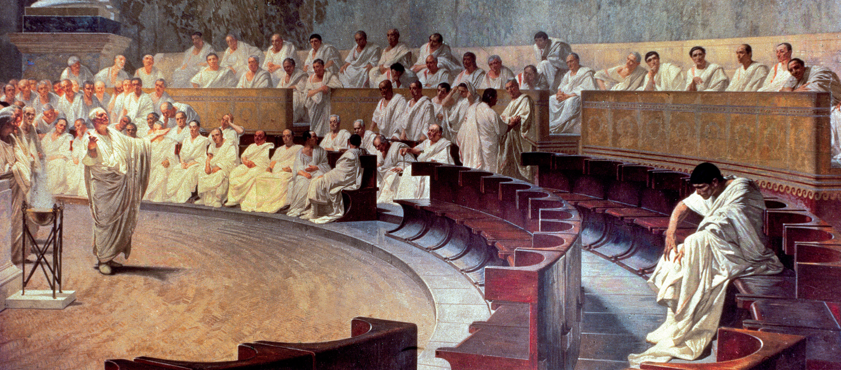 Painting of a denunciation in the ancient Roman senate.