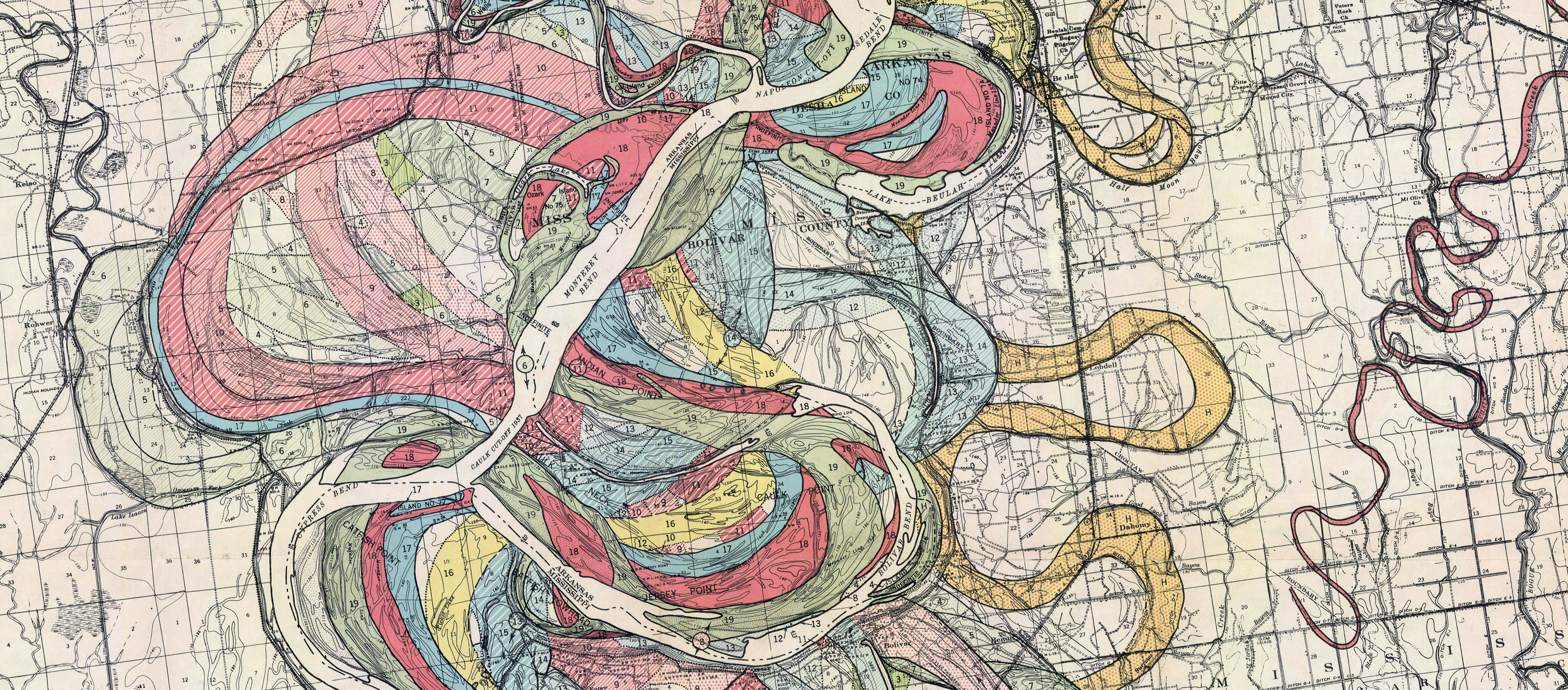 Colorful engraving of the different paths of the Mississippi River.