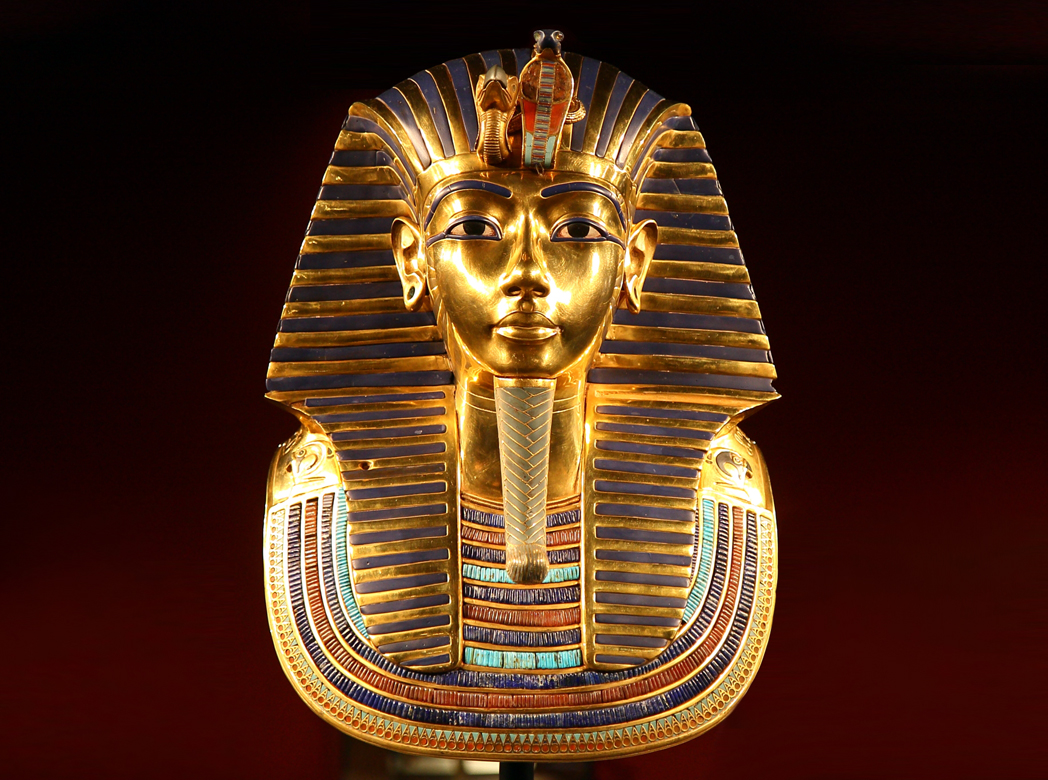 Funerary mask of Tutankhamen, c. 1327. The Museum of Egyptian Antiquities, Cairo.