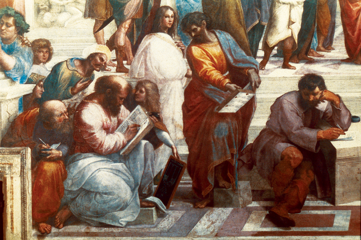 The School of Athens (detail), by Raphael, c. 1509–1510. Apostolic Palace, Vatican City.