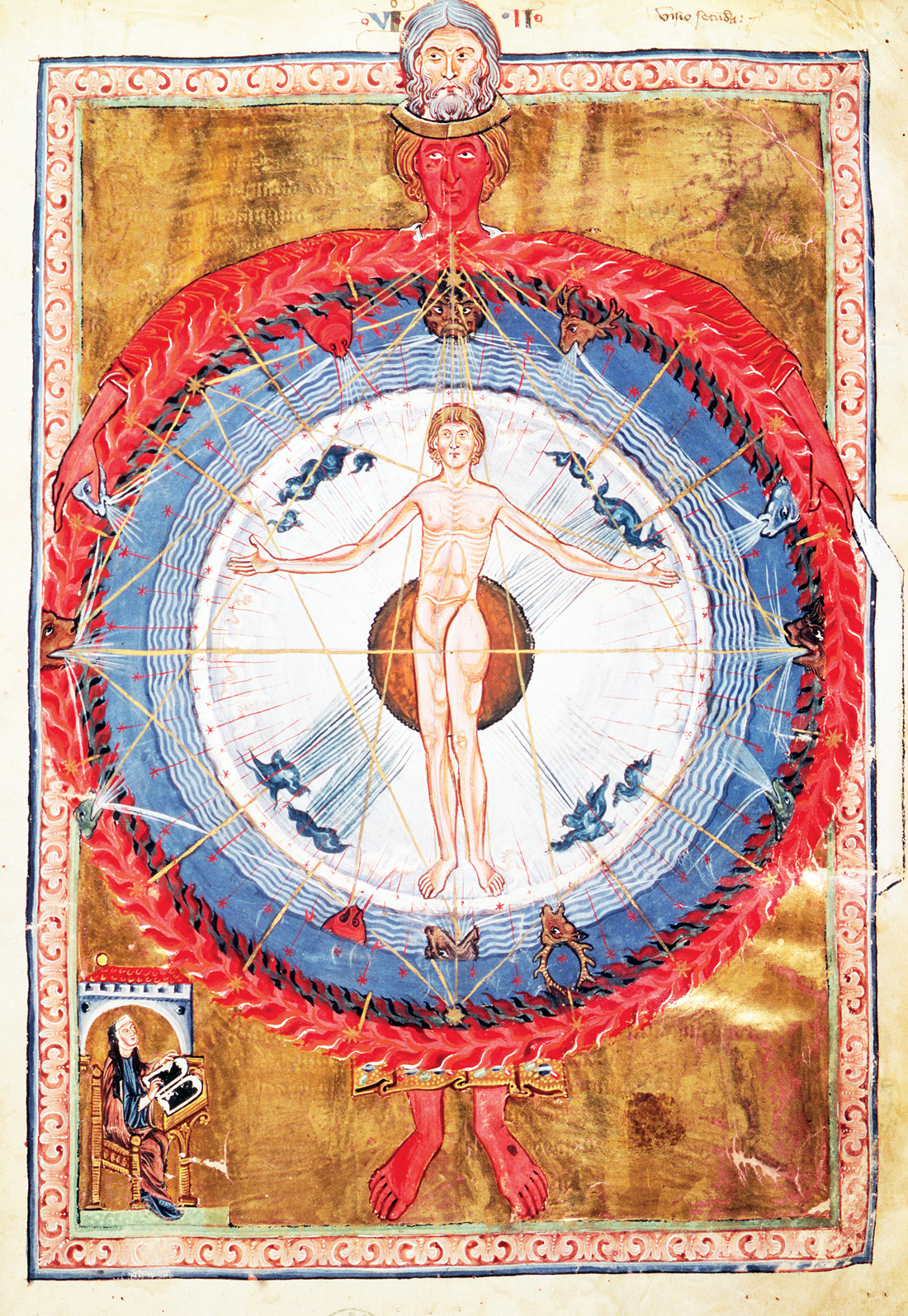 Man as the center of the universe, illustration from De Operatione Dei, by Saint Hildegard of Bingen, c. 1200. Biblioteca Statale, Lucca, Italy.