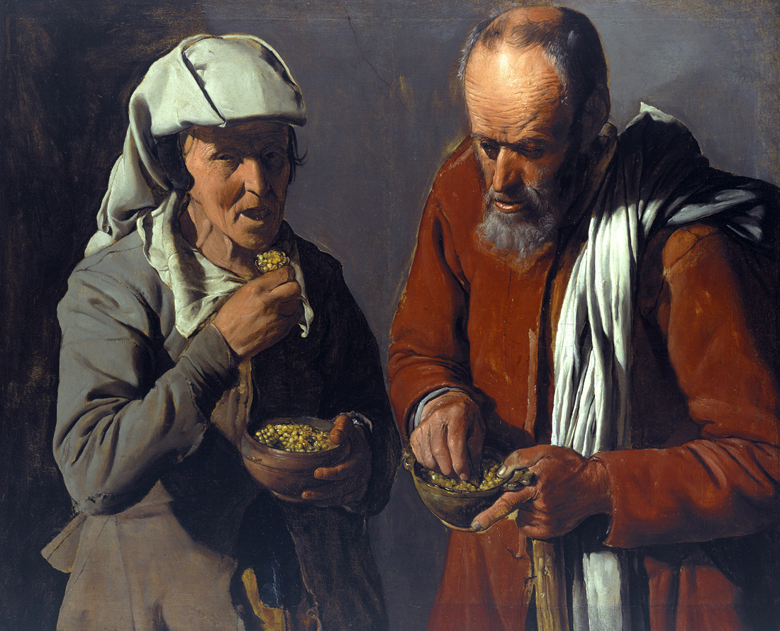 Old Peasant Couple Eating, by Georges de La Tour, c. 1622. Gemäldegalerie, Berlin.