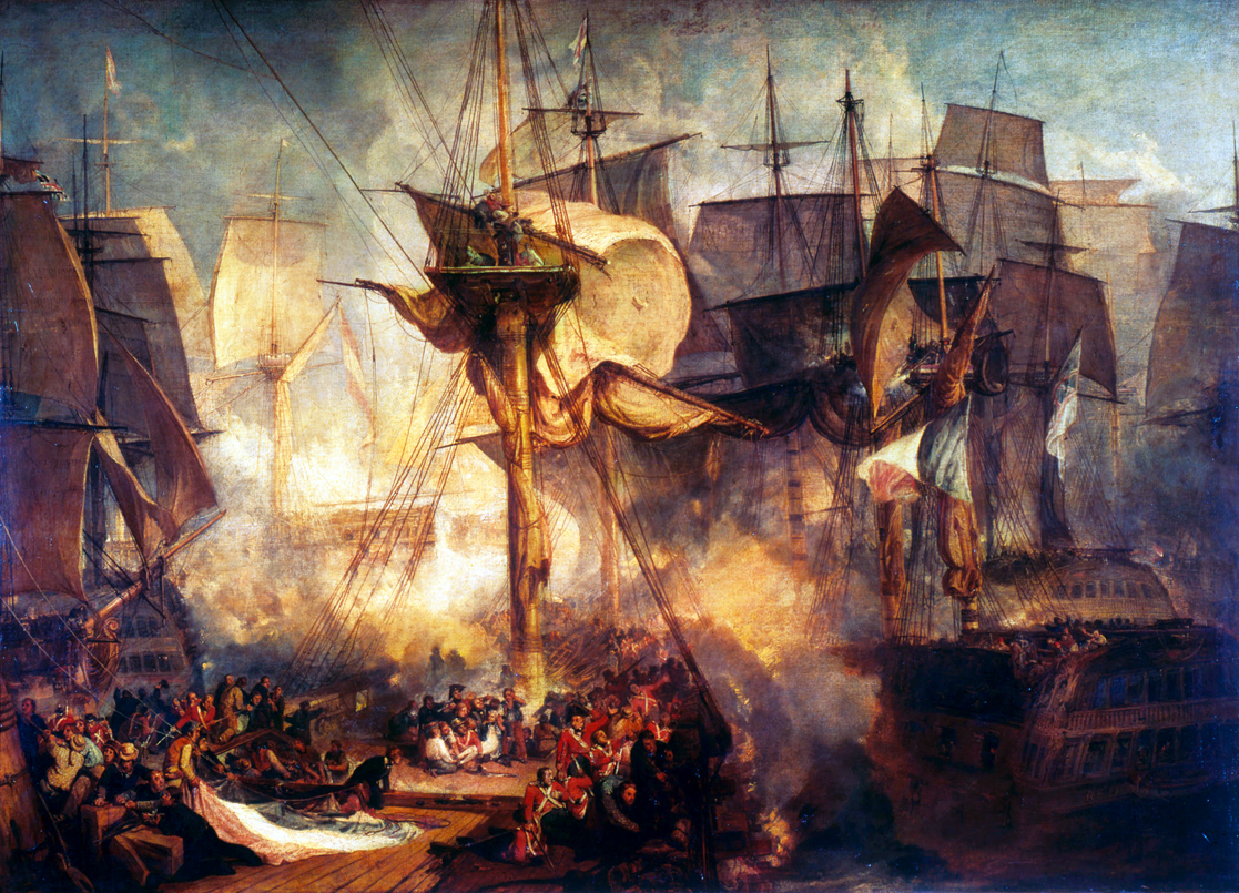 The Battle of Trafalgar, as Seen from the Mizen Starboard Shrouds of the Victory, by J. M. W. Turner, 1806-1808. Tate Britain, London.