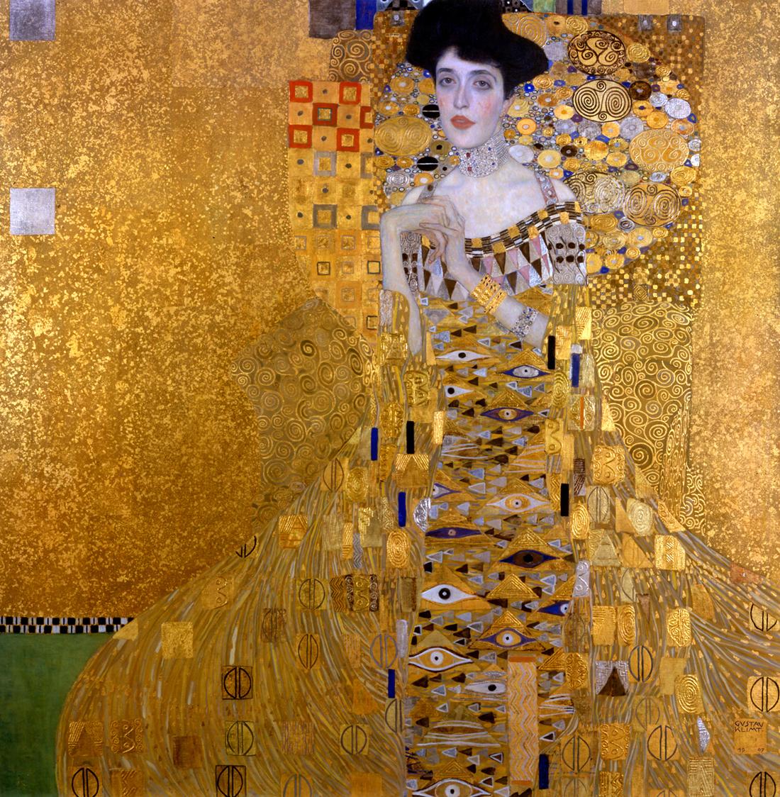 Mrs. Adele Bloch-Bauer, I, by Gustav Klimt, 1907. Neue Galerie, New York.