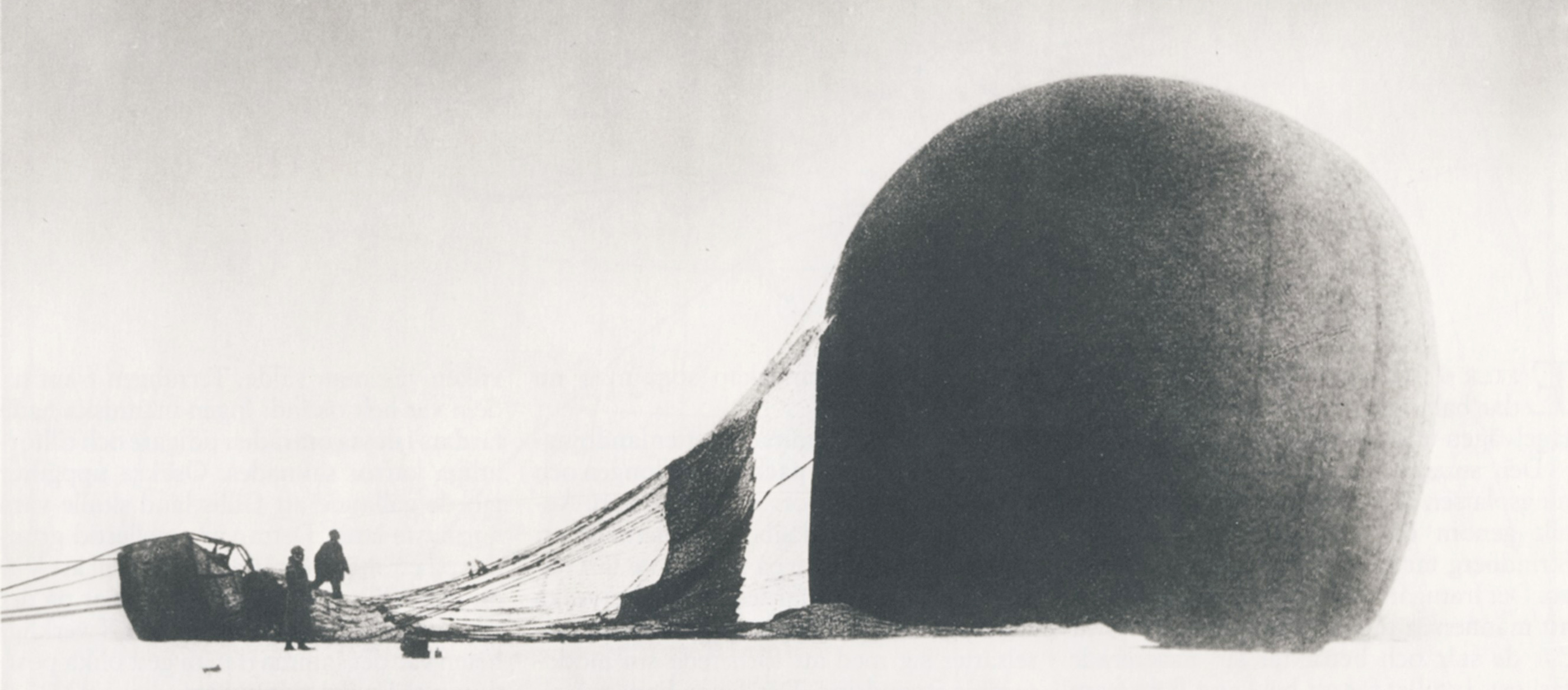 Swedish scientist Salomon Andrée and Knut Frænkel with crashed balloon only two days after their July 1897 departure to chart the North Pole, photograph by third expedition member Nils Strindberg. In 1930, film documenting the trip was found with the expl