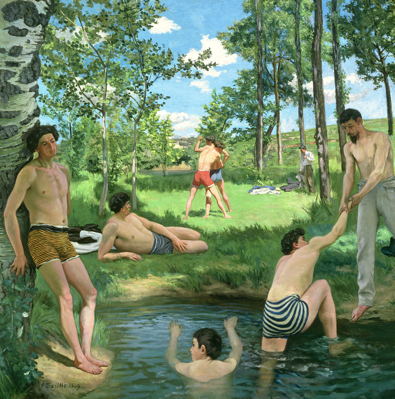Nineteenth-century painting of young men at a watering hole.