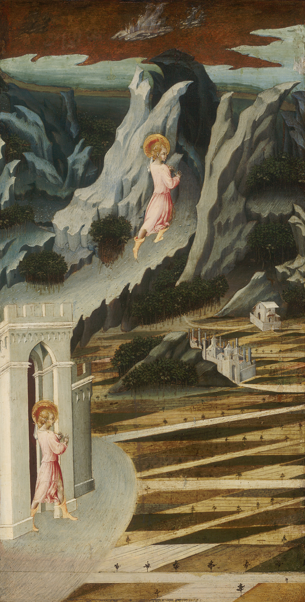Saint John the Baptist Entering the Wilderness, by Giovanni di Paolo, c. 1455