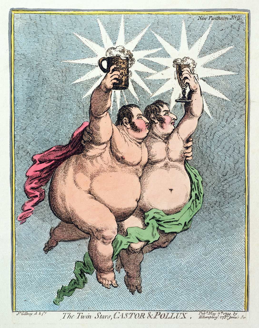 The Twin Stars, Castor & Pollux, by James Gillray, 1799. From a series caricaturing Whig Party members as pagan deities.