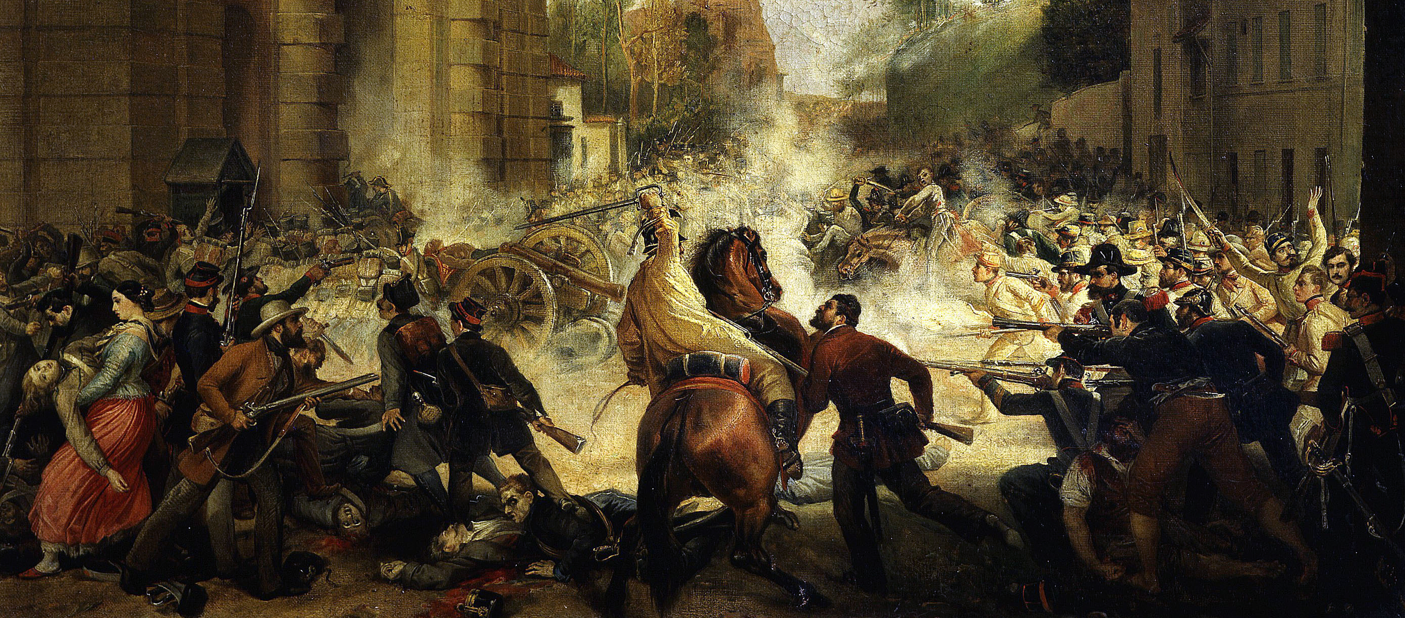 The Expulsion of the Austrians from the Porta Galleria, August 8, 1848, by Antonio Muzzi, c. 1849.