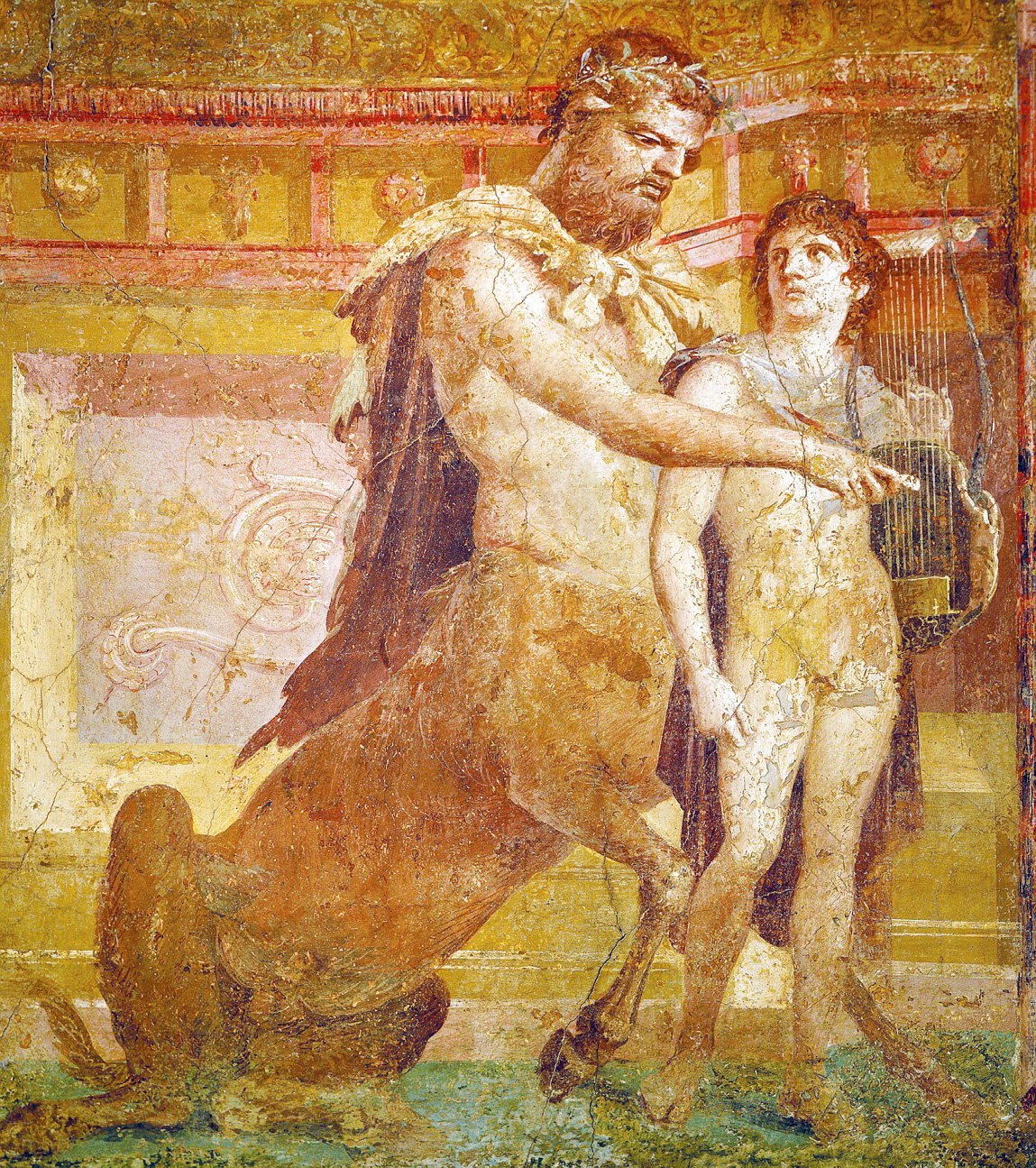 Chiron and Achilles depicted in a fresco in Herculaneum, Italy, first century. National Archaeological Museum, Naples, Italy.