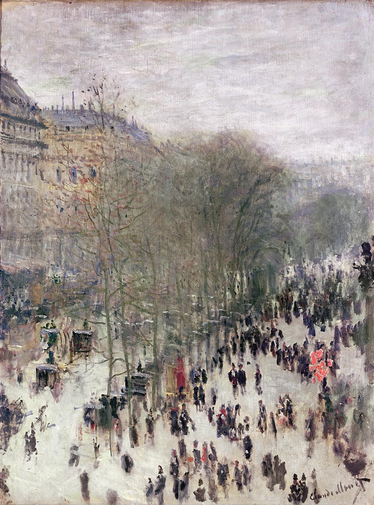 Boulevard des Capucines, by Claude Monet, c. 1873. Nelson-Atkins Museum of Art, Kansas City, Missouri.
