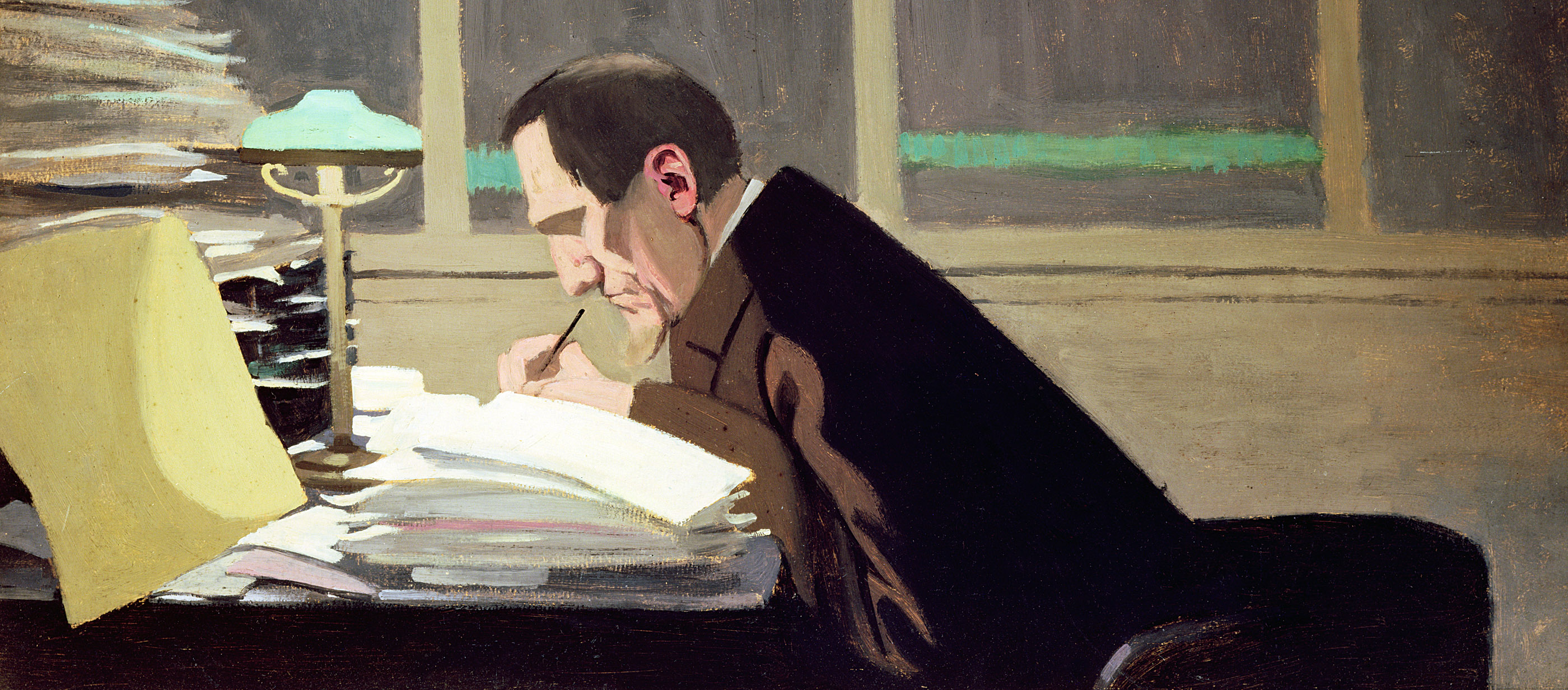Félix Fénéon working at the French literary journal La Revue Blanche, by Félix Vallotton, 1896.