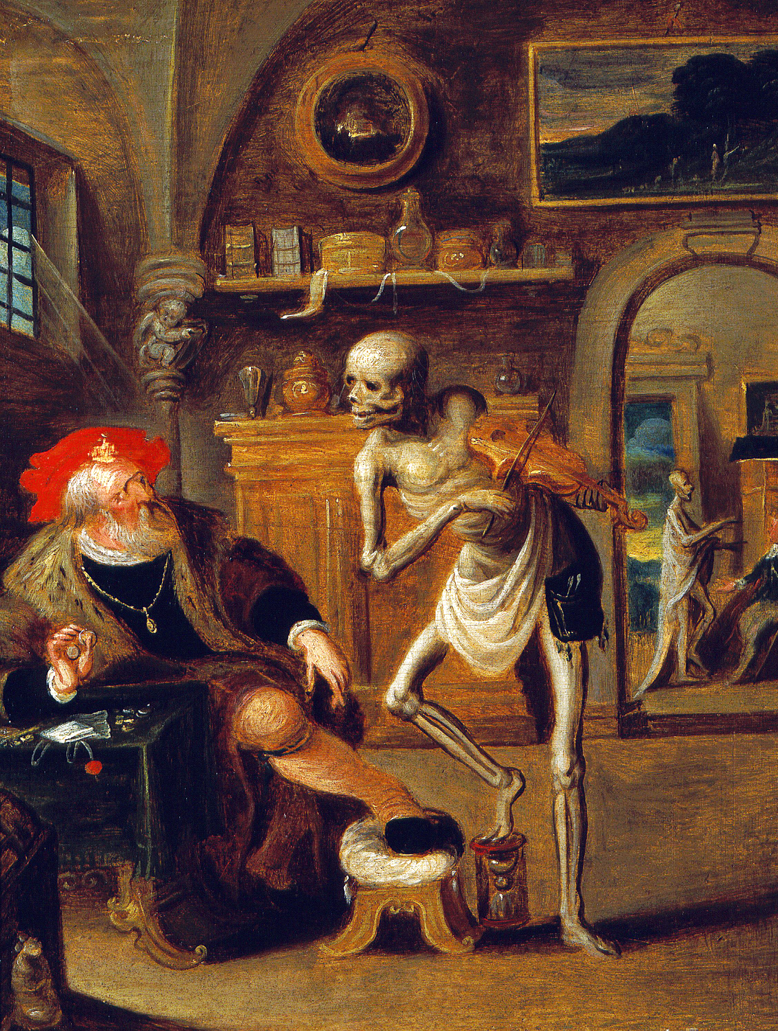 The Miser Haunted by Death Playing Violin, by Frans Francken II (1581–1642). Wellcome Library, London.