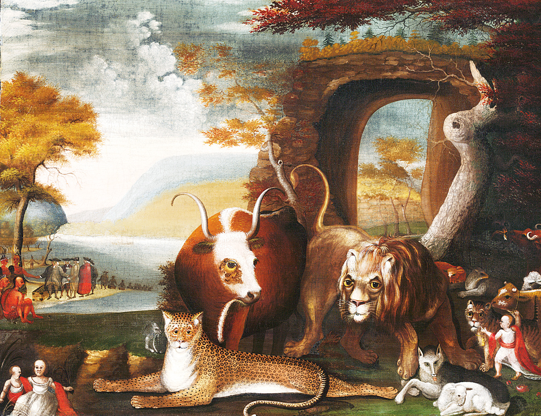 The Peaceable Kingdom and Penn's Treaty, by Edward Hicks, 1829–1830. Yale University Art Gallery, Bequest of Robert W. Carle, B.A. 1897.