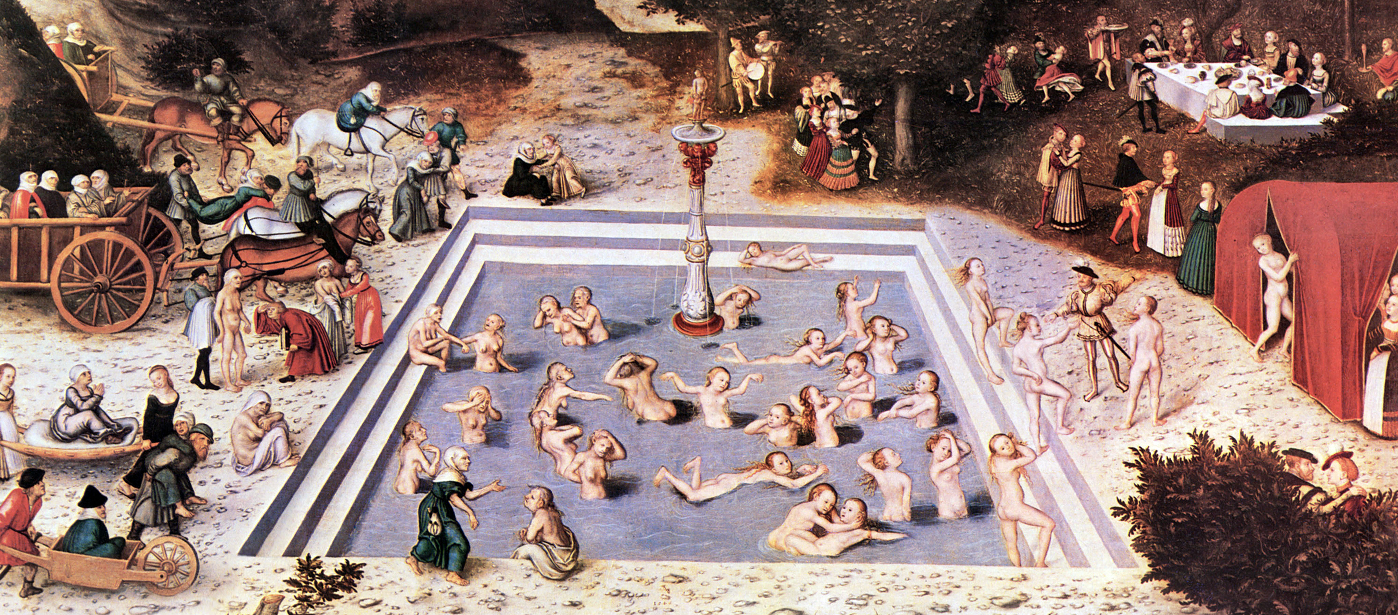 Lucas Cranach painting showing people frolicking in the fountain of youth.