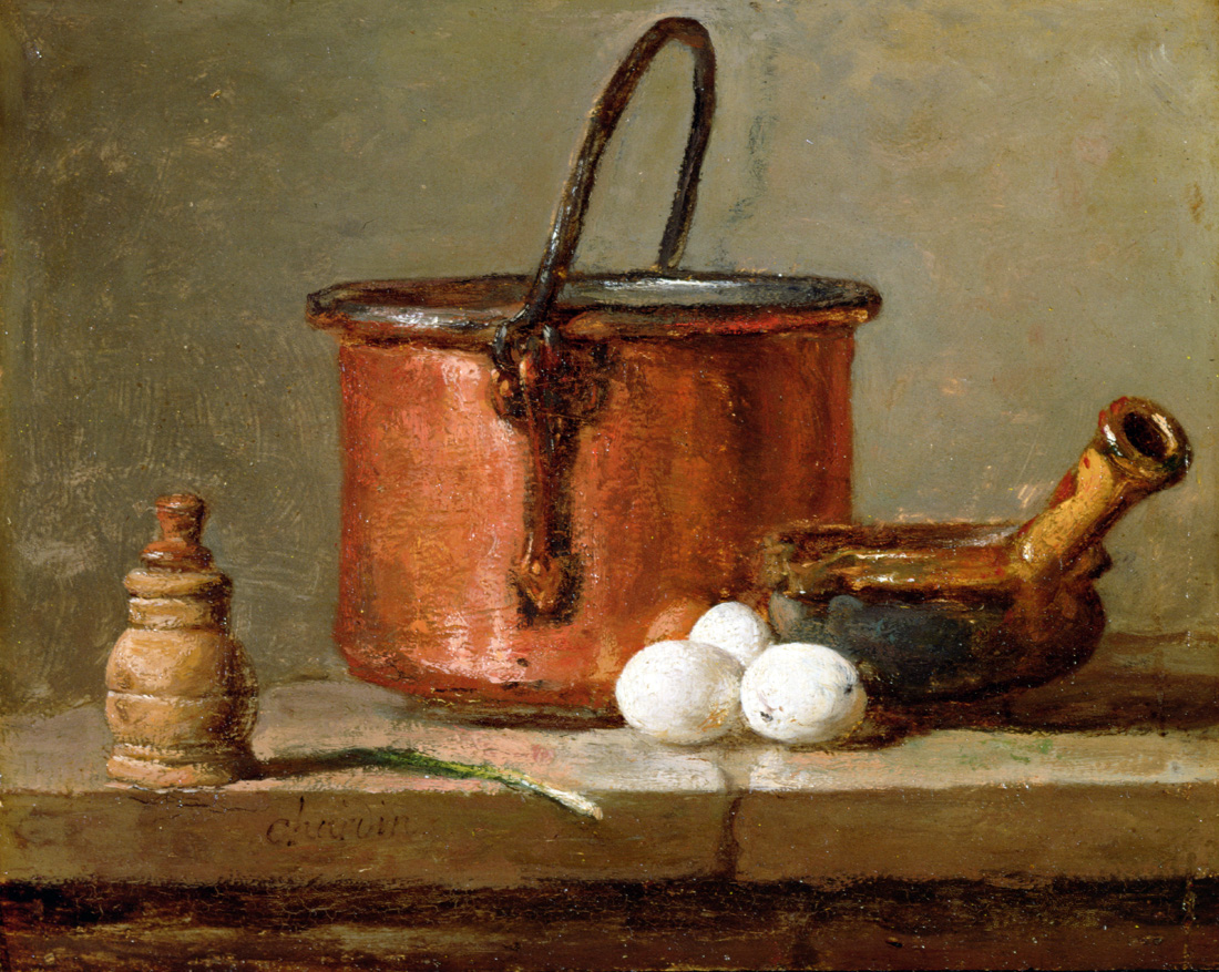 Still Life with Tinned Copper Pot, Pepper Box, Leek, Three Eggs, and a Casserole, by Jean-Siméon Chardin, c. 1732. Detroit Institute of the Arts, Michigan.