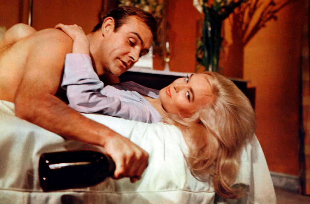 Film still for Goldfinger, with Sean Connery.